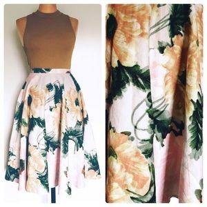 Topshop retro full floral skirt. M